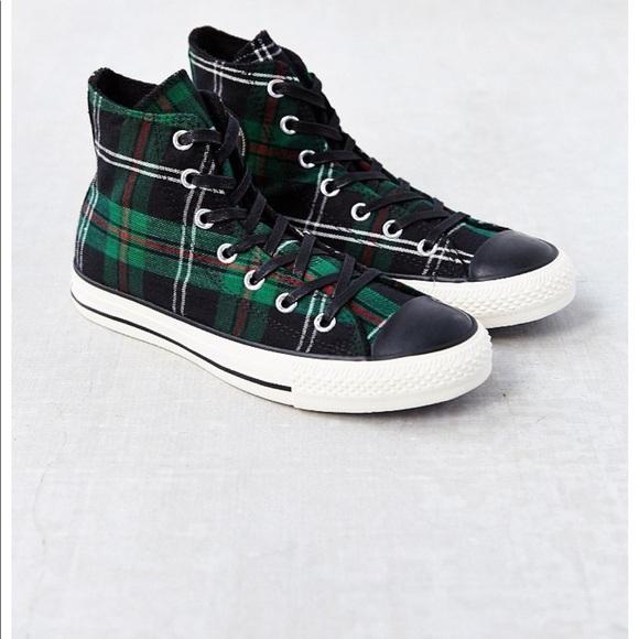 Converse tartan chuck taylor green plaid sneakers
